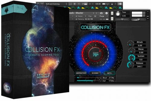 Collision FX and Interface of software for Kontakt 5 instrument developed by Sound Yeti
