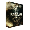 Braams dramatic low-end musical tones, distant horns, massive low brass, bass morph and low key sound effects