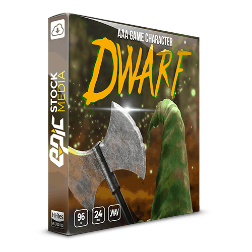 AAA Game Character Dwarf voice sound effects library box