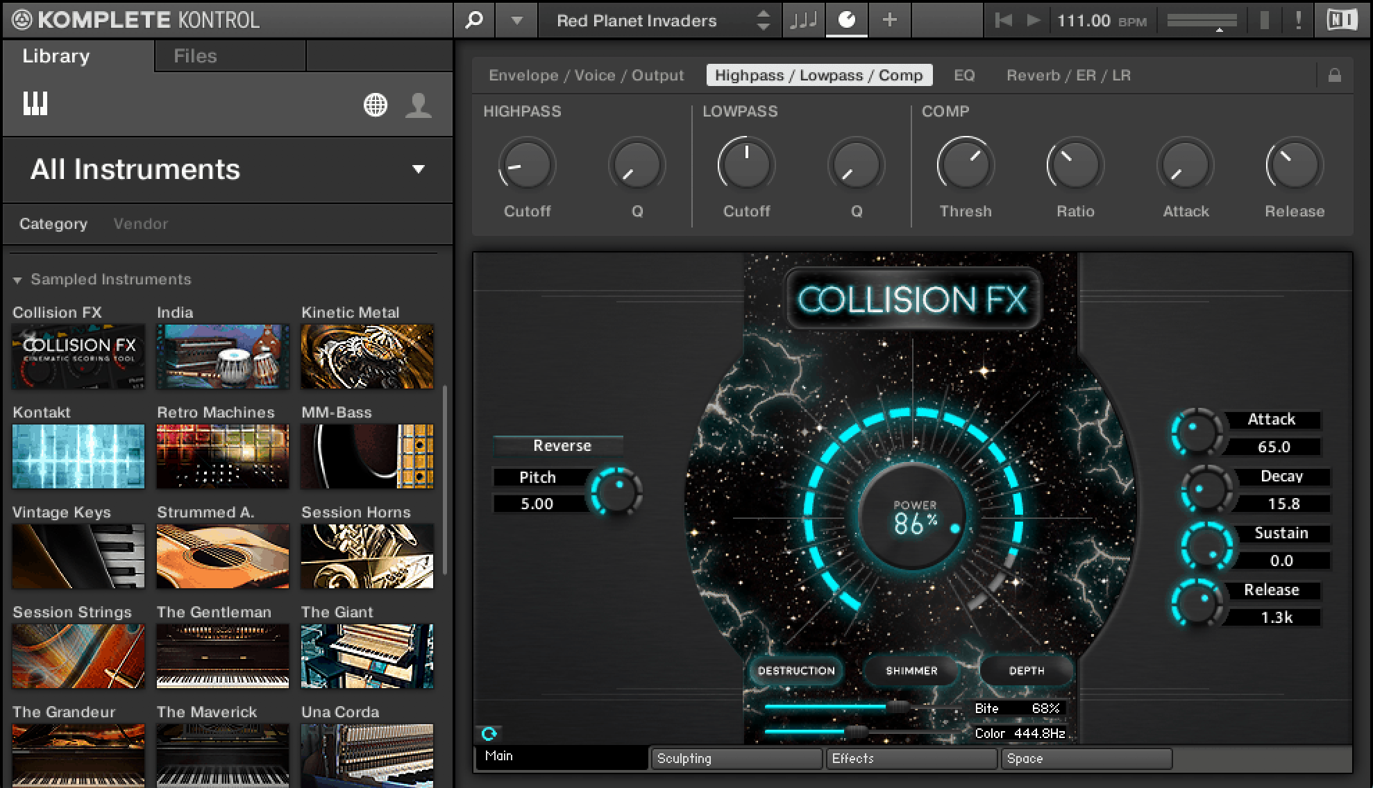 Komplete Kontrol Collision FX Main Destruction Page NKS Kontakt Plugin